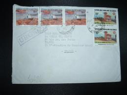 LETTRE Pour La FRANCE TP BATEAU 100F X3 + TP GARE DE LOULOMBO 10F X2 OBL.2-4-1986 BRAZZAVILLE RP - Congo - Brazzaville