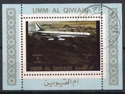 Umm-Al-Qiwain 1972 Plane, Bloc, Mi 1287 In Bloc, Cancelled(o) - Umm Al-Qiwain