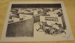 Illustration Spécimen - Claude Serre - Urgences, Médecine - Format 37.5 X 27 Cm - Sérigraphies & Lithographies