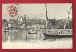 PAL-20  Nyon Le Quai Et Vieux Port. Barque à Voiles Latines Pour Le Transport De Pierres. Cachet Frontal 1916 - VD Vaud