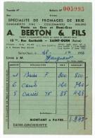 1953--Sté A.BERTON & Fils--Fromages De Brie (Camemberts Fins,Coulommiers-Meluns---SAINT OUEN- 93 --Facture - France