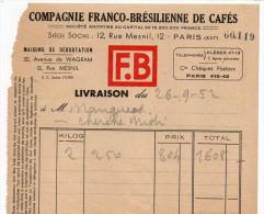 1952--PARIS 16°--Cie FRANCO-BRESILIENNE DE CAFES-- - France