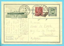 Franse Postzegel Op Postkaart (Oostende-Dover) Ontwaard Met Stempel THIONVILLE-GARE Op 19/7/30 !!! - Illustrat. Cards