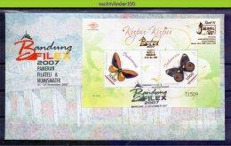 Mww030b FAUNA VLINDERS BRUG BRIDGE BUTTERFLIES SCHMETTERLINGE MOZAIEK MOSAIC MARIPOSAS PAPILLONS INDONESIA 2007 FDC - Mariposas