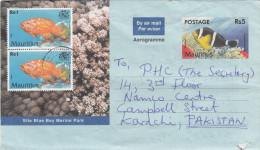 MAURITIUS TO PAKISTAN  RS5 AEROGRAME WITH FISH STAMPS MARINE LIFE. - Poissons