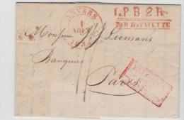 B040 / Anvers 1834 Par  Estafette Nach Paris - 1830-1849 (Belgique Indépendante)