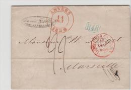 B041 / Anvers 1838 Nach Marseille, Vorphilateliebrief Mit Textinhalt - 1830-1849 (Belgique Indépendante)