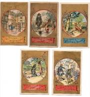 CHROMO Dorée Fable De La Fontaine Vieillemard Le Corbeau Et Le Renard L'ours Et L'amateur De Des Jardins (5 Chromos) - Trade Cards