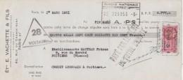 Lettre Change 1/3/1951 Ets E VACHETTE & Fils Serrurerie Rue Du Chemin Vert PARIS Pour Poitiers - Lettres De Change