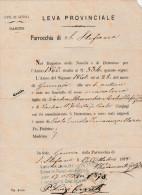 DOC1) GENOVA PARROCCHIA DI SANTO STEFANO ATTO NASCITA DEL 1860 REDATTO 1878 DIMENSIONI 15X21 Cm - Italia