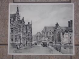 Pentekening Gent Binnenstad Door Herman Verbaere (1906-1993) - Prints & Engravings