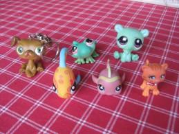 6 Figurines Pet Shop : Chien Porte Clés, 2 Poissons, Grenouille, Chat, Chien - Figurines