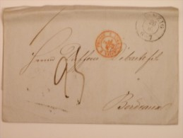 MARQUE POSTALE DE DANTZIG A BORDEAUX DU 26 JUIN 1848 (CACHET D´ENTREE EN FRANCE) - Postmark Collection (Covers)