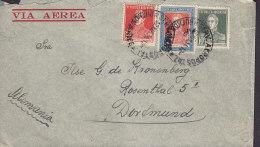 Argentina VIA Aerea GUILERMO GROSSE, BUENOS AIRES 1934 Cover Letra DORTMUND Germany 3x Bolivar (2 Scans) - Argentinien