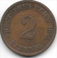 *empire 2 Pfennig 1875  E   Km 2    Fr+ - [ 2] 1871-1918 : German Empire