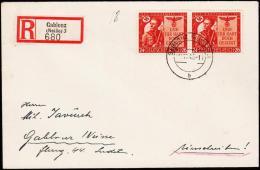 1943. HITLER 2x 24+26 Pf. GABLONZ (NEISSE) 10.11.43.  (Michel: 863) - JF190191 - Allemagne