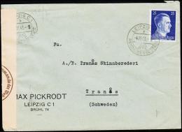 1943. 25 Pf. Hitler LEIPZIG REICHSMESSESTADT 4.11.43. To Tranås, Schweden. Geöffnet Obe... (Michel: 793) - JF190019 - Deutschland