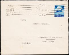 1936. 40 Pf. Lufthansa HAMBURG 25.1.36. To Belgien. Zur Devissenüberwachung Zollamtlich... (Michel: 603) - JF190004 - Deutschland