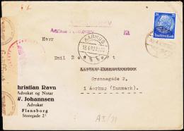 1942. 25 Pf. Hindenburg FLENSBURG 10.4.42 To Dänemark KASSEBREV Aarhus Postkontor Geöff... (Michel: 522) - JF190036 - Deutschland