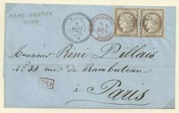 Tunisie 1873 Lettre Avec Paire De 30c Cérès Du Bureau De Tunis - 1871-1875 Cérès