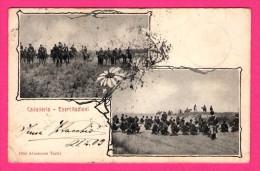 "Cavalleria - Esercitazioni - Double Vues - Animée - Chevaux - Militaires - ALTEROCCA TERNI - 1903 - Cachet "" B 322 "" - Manoeuvres"