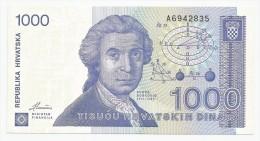Croatia 1000 Dinara 1991. UNC P-22 Prefix A - Croatie