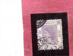 HONG KONG 1954 QUEEN ELIZABETH II REGINA ELISABETTA CENT. 10 USATO USED OBLITERE´ - Usati