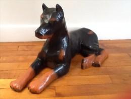 Ancienne Sculpture  Chien Doberman - Sculptures