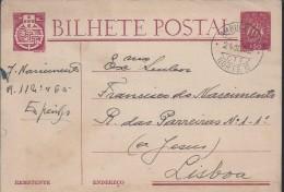 Ambulance North II Railways.Obliteration Ambulance Espinho/Lisbon 1952.Postal Stationery Caravel.Eisenbahnen. - 1910-... République