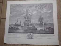 Vue Du Bassin Et De La Ville De Bruges Peint Par Minderhout 1665 Et Gravé Par Noël Le Mire - Litografía