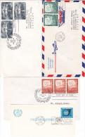 -> Lot De 4 Lettres Avec Cachets 1er Jour Des Nations Unies - FDC