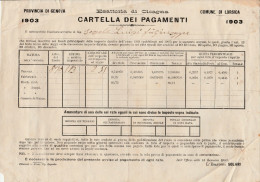DOC1) PROVINCIA GENOVA COMUNE LORSICA ESATTORIA CICAGNA TASSA TERRENI 1903 INSOLITO DOCUMENTO DIMENSIONI 25,5 X 17.5 Cm - Italia