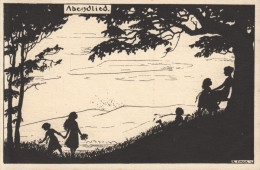 CPA ILLUSTRATEUR CARTE SILHOUETTE   ** FORCK **  SILHOUET SHADOW CARD  ARTIST SIGNED - Silhouettes