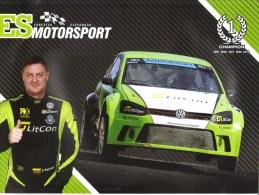 World Rallycross Championship  -  Ernestas Staponkus  -  Volswagen Polo  -  Large  Promo Card (2 Scans) - Sport Automobile