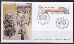 = Inauguration Musée Du Quai Branly Enveloppe 1er Jour Paris 8.7.06 N°3937 Statuette, Edifice Et Tour Eiffel - 2000-2009