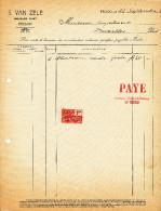 MEUBLES D´ ART Van Zele - Duré à EECLOO - 2 Factures + Fiscaux 1926/27  --  22/520 - Belgium