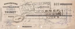 Lettre Change 15/4/1929 THINET Coutellerie Orfèvrerie Rue Grenier St Lazare PARIS Pour St Hippolyte Gard - Letras De Cambio