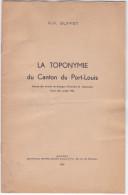 Petite Plaquette - H F Buffet, Toponymie Du Canton Du Port Louis -56 France -