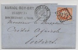 LETTRE  ROCHEFORT SUR MER N°3171 DE 1875 - Marcophilie (Lettres)