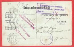 14-18 Kriegsgefangenen Karte Prisonnier  Blessé GEWONDEN  HAMELN Censure Geprüft  Vers  Amsterdam  7 XI 1916