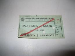 BIGLIETTO Azienda Tranviaria Municipale-milano PRECOTTO-SESTO - Europa