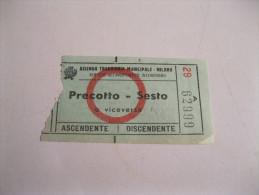 BIGLIETTO Azienda Tranviaria Municipale-milano PRECOTTO-SESTO Altro Tipo - Europa