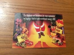 """Calendrier 1991 """"La Redoute Est Heureuse De Vous Souhaiter Un Joyeux Noël ... (père Noël, Cadeau, Mickey)"""" (9x13cm) - Klein Formaat: 1991-00"""