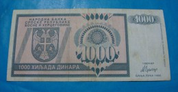 BOSNIA & HERZEGOVINA *REPUBLIKA SRPSKA - BANJA LUKA* 1000 DINARA 1992 VF. - Bosnia Erzegovina