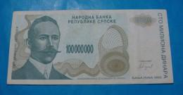 BOSNIA & HERZEGOVINA *REPUBLIKA SRPSKA - BANJA LUKA* 100 000 000 DINARA 1993 VF+. - Bosnie-Herzegovine