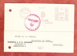 Karte, Absenderfreistempel, Broedrene A&O Johansen, Koebenhavn, Zensurstempel Der Wehrmacht, Nach Schweina 1941 (27382) - Machine Stamps (ATM)