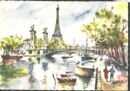 ! - France -  Paris - Tour Eifel Et Pont Alexandre III - Peinture Signée Zoé - France