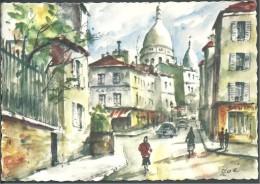! - France -  Paris - Rue Norvins Et Montmartre - Peinture Signée Zoé - France