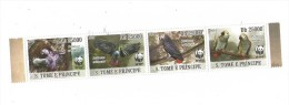 St. Tome And Principe Isl. 2009 -  Parrots, Set Of 4 Stamps In Strip,  MNH - W.W.F.