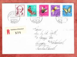 Einschreiben Reco, Satzbrief Pro Juventute Gotthelf + Insekten, Solothurn Bahnhof Nach Singen, AK-Stempel 1954 (27389) - Lettres & Documents